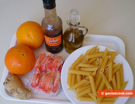 Ингредиенты для пенне с крабами в апельсиновом соусе
