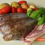 Ингредиенты для морской курицы с панчеттой, помидорами и картофелем