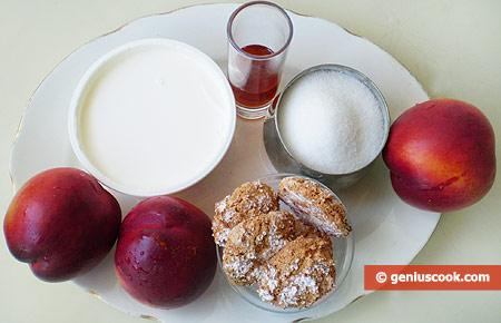 Ингредиенты для десерта с Нектаринами, Маскарпоне и Амаретти
