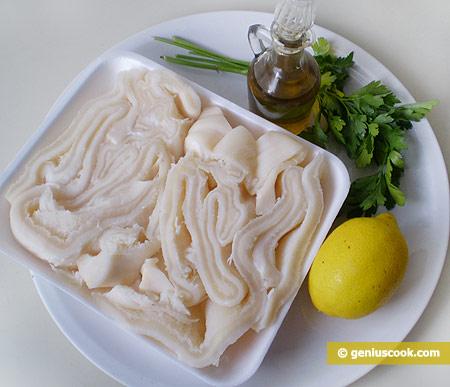 Ингредиенты для салата с рубцом