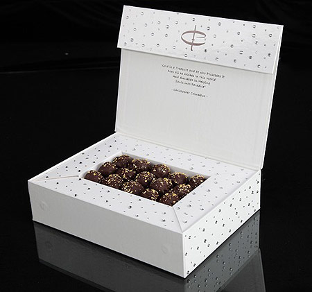 Коробка с шоколадными трюфелями с золотом