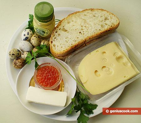 Ингредиенты для канапе с икрой и яйцами