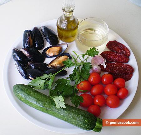 Ингредиенты для соуса с мидиями