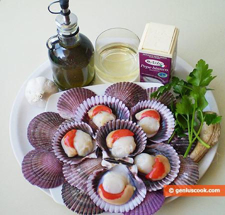 Ингредиенты для соте из морских гребешков