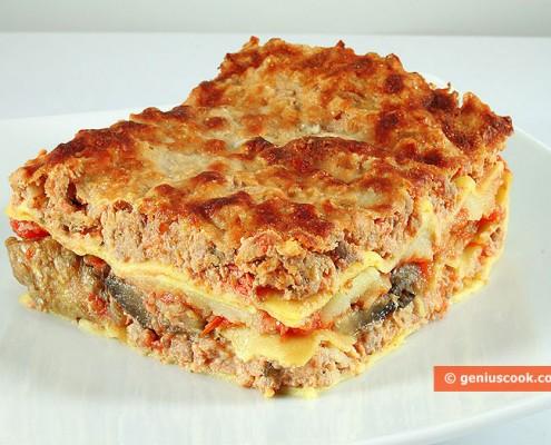 Лазанья с мясом, сыром и баклажанами