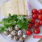 Ингредиенты для канапе с перепелиными яйцами