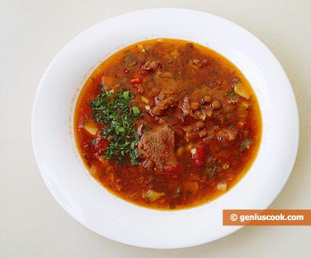 Чечевичный суп с бараниной, по-средиземноморски
