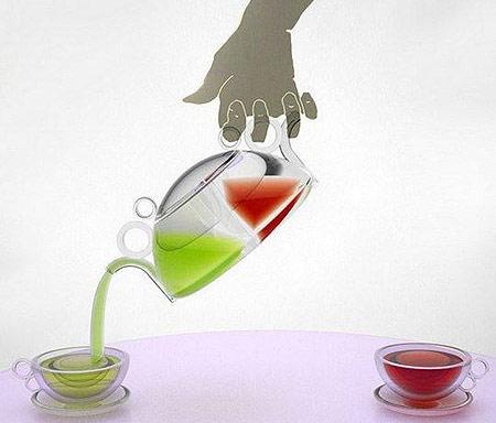 Чайник для зелёного и чёрного чая, с двумя носиками и ручками