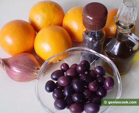 Ингредиенты для сицилийского салата с апельсинами