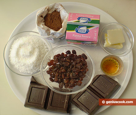 Ингредиенты для шоколадных трюфелей с изюмом