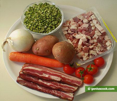 Ингредиенты для горохового супа с копчёностями