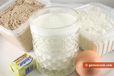 Ингредиенты для пирожков с печёнкой