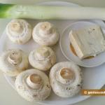 Ингредиенты для шампиньонов с пореем и сыром Горгонзола