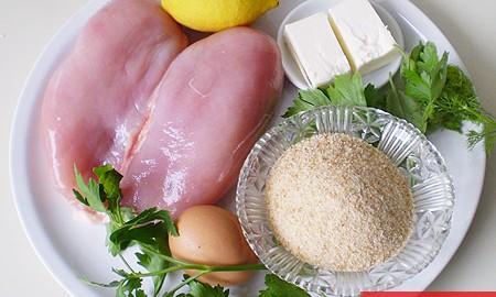 Ингредиенты для котлет по-киевски на 2 порции