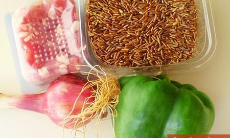 Ингредиенты для риса с панчеттой и овощами