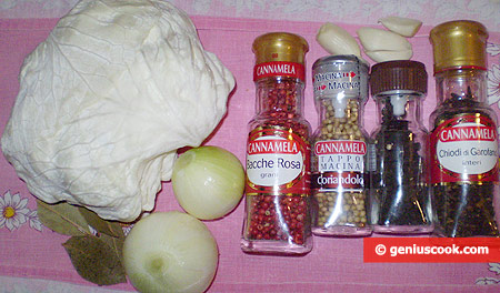 Ингредиенты для маринованной капусты