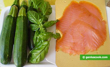 Ингредиенты для салата с копчёным лососем