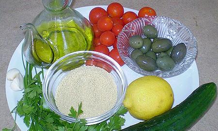 Ингредиенты для салата с кускусом