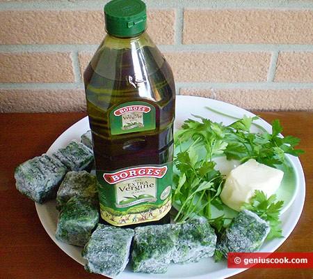 Ингредиенты для шпината с сыром