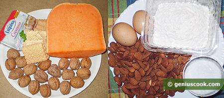 Ингредиенты для тыквенного чизкейка с орехами