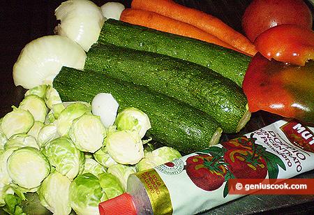 Ингредиенты для рагу с брюссельской капустой