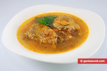 Суп из цесарки с коричневым рисом