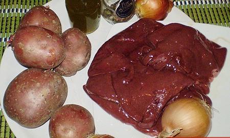 Ингредиенты для печени с картофелем и луком