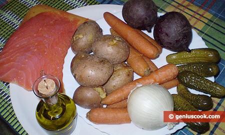 Ингредиенты для винегрета с лососем