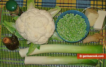 Ингредиенты для супа-пюре из цветной капусты