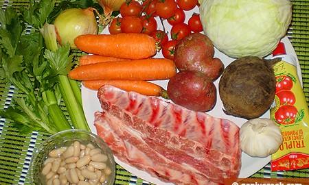 Ингредиенты для борща со свиными рёбрышками и фасолью
