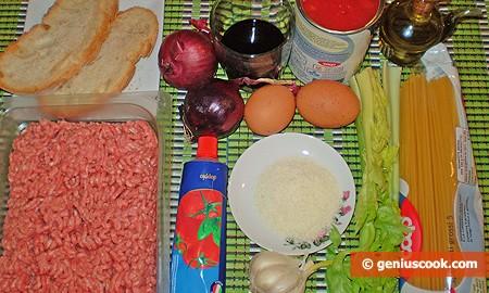 Ингредиенты для Спагетти с фрикадельками
