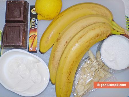 Ингредиенты для бананового десерта