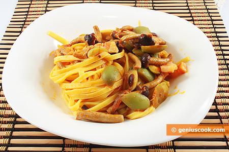 Тальятелле с панчеттой, грибами и оливками