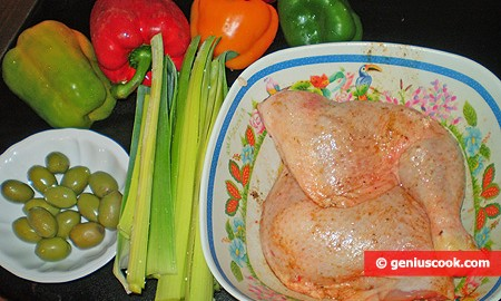 Ингредиенты для тушёных куриных окорочков
