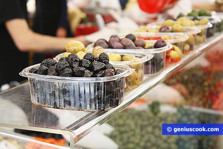 Печёные чёрные оливки