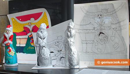 Эскизы новогодних обёрток и фигурки Снегурочки