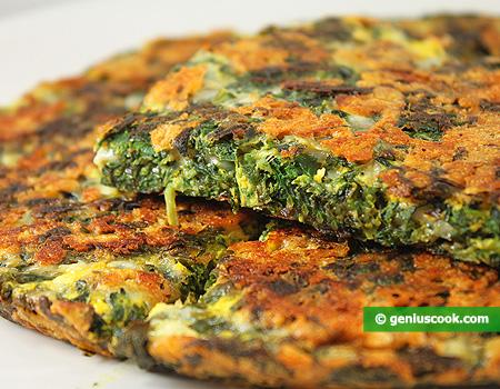 Фриттата с сыром, зеленью и шпинатом