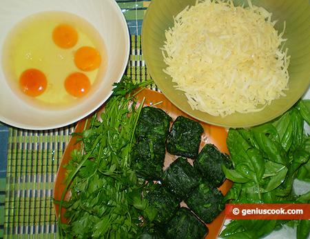 Ингредиенты для фриттаты с сыром и шпинатом