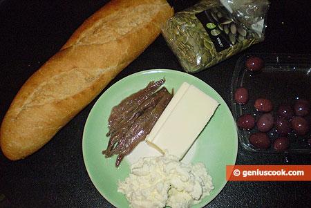 Ингредиенты для канапе с анчоусами