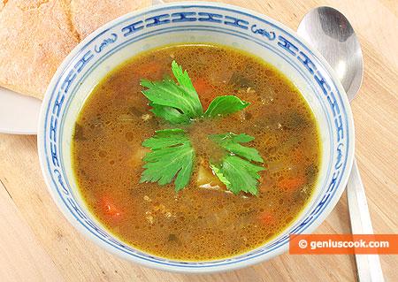 Грибной суп с пшеном и сельдереем