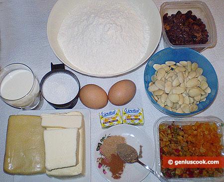 Ингредиенты для миндального штоллена