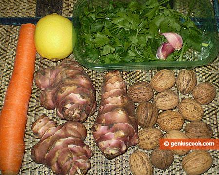 Ингредиенты для салата из топинамбура