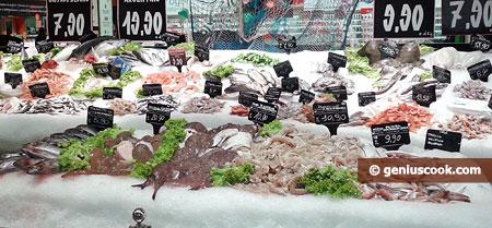 Охлаждённая свежая рыба и морепродукты