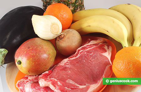 Мясо, фрукты, овощи