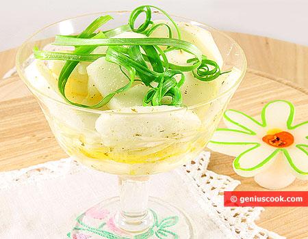 Салат из репы с зелёным луком