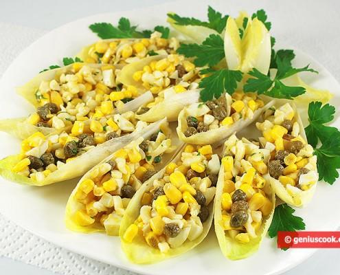 Закуска из Эндивия с Кукурузой, Сыром и Каперсами